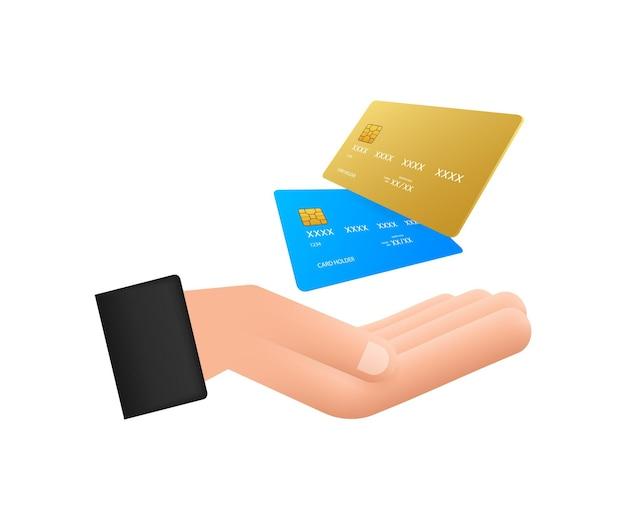 Carte de crédit simple bleue avec modèle de mains sur fond blanc. illustration vectorielle.
