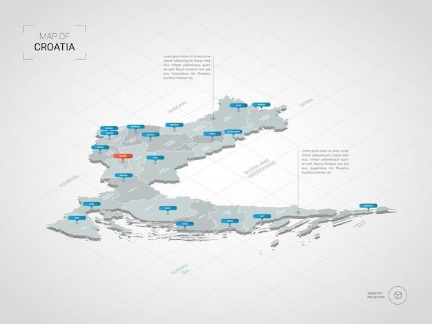 Carte de croatie 3d isométrique.