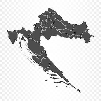 Carte de la croatie isolée sur transparent