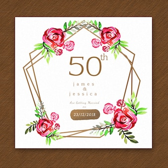 Carte d'invitation d'anniversaire floral aquarelle