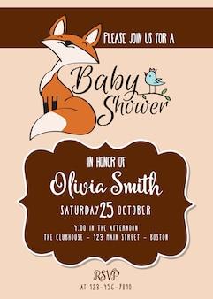 Carte de douche de bébé avec mignon petit renard