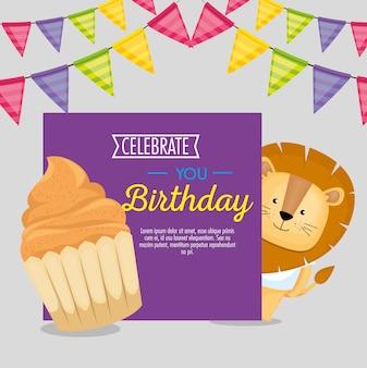 Carte de joyeux anniversaire avec cupcake et lion mignon