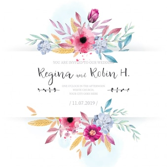 Carte de mariage élégant avec des fleurs aquarelles