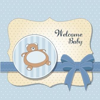 Carte de naissance avec un ourson en peluche