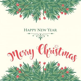 Carte de Noël avec des branches d'arbres et des voeux
