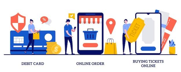 Carte de débit, commande en ligne, illustration d'achat de billets avec des personnes minuscules