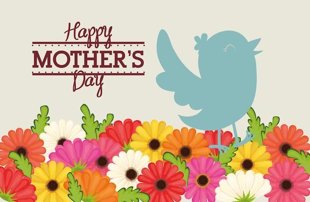 Carte de décoration heureuse fête des mères oiseaux fleurs