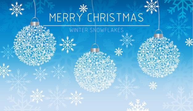 Carte de décorations de joyeux noël bannière flocons de neige