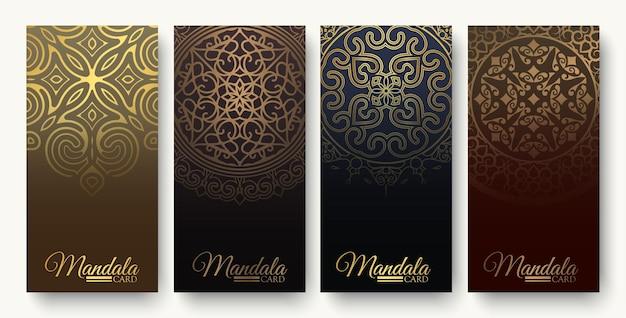 Carte décorative de luxe mandala en couleur or