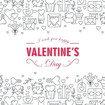 Carte décorative monochrome saint valentin avec de nombreux éléments d'amour tels que cadeau, flèches, coeur, illustration d'enveloppe