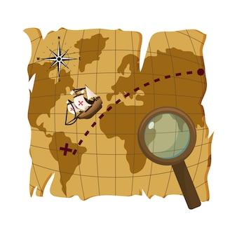 Carte, découverte, amérique, navire, loupe