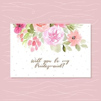 Carte de demoiselle d'honneur belle aquarelle florale