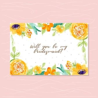 Carte de demoiselle d'honneur avec cadre floral aquarelle
