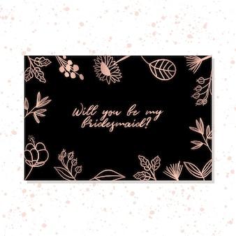 Carte de demoiselle d'honneur avec cadre floral élégant en or rose