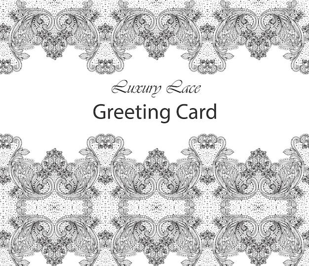 Carte de dentelle de luxe. décors d'ornements délicats faits à la main