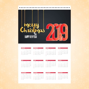 Carte de design calendrier de noël 2019