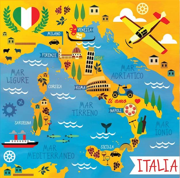 Carte de dessin animé de l'italie