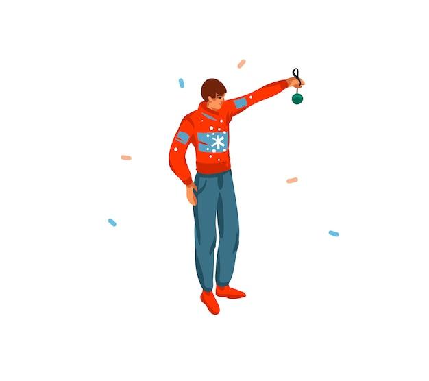 Carte de dessin animé joyeux noël et bonne année dessinés à la main