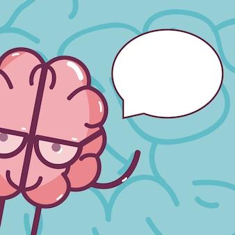 Carte de dessin animé mignon cerveau