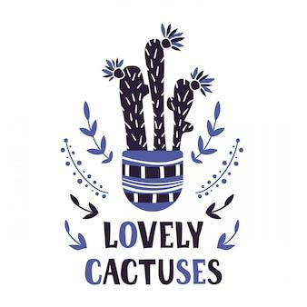 Carte de dessin animé avec plante en pot, fleur, lettrage