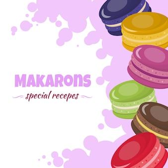 Carte de dessin animé de recettes spéciales de macarons colorés