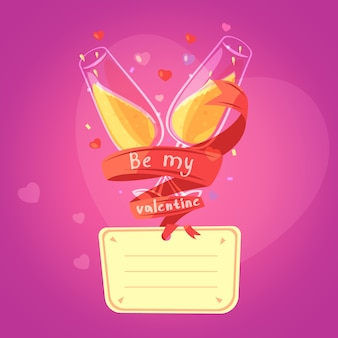 Carte de dessin animé rétro saint valentin avec des lunettes sur le champagne et des coeurs sur fond