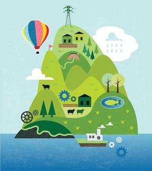 Carte de dessin animé avec rivière, montagne et maisons