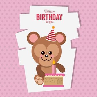 Carte de dessin animé de singe joyeux anniversaire