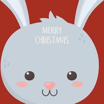Carte de dessin animé tête de lapin mignon joyeux noël célébration