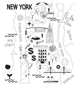 Carte de dessin animé de la ville de new york