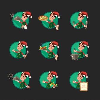 Carte avec dessin elfe pour la fête de noël et du nouvel an