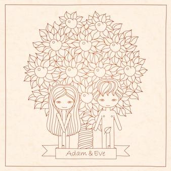 Carte de dessin à la main avec adam et eve