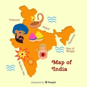 Carte dessinée à la main de l'inde