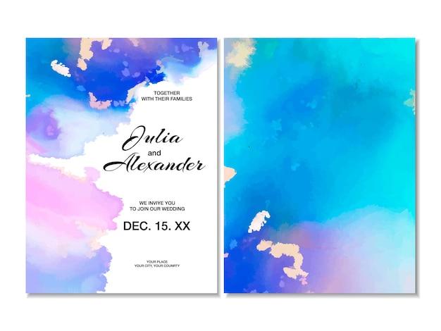 Carte dessinée à la main d'invitation de mariage de vecteur. conception de coup de pinceau bleu avec des rayures dorées. modèle abstrait à la mode pour vous remercier, fond de carte d'anniversaire.
