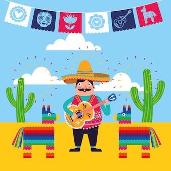 Carte de dessins animés au mexique