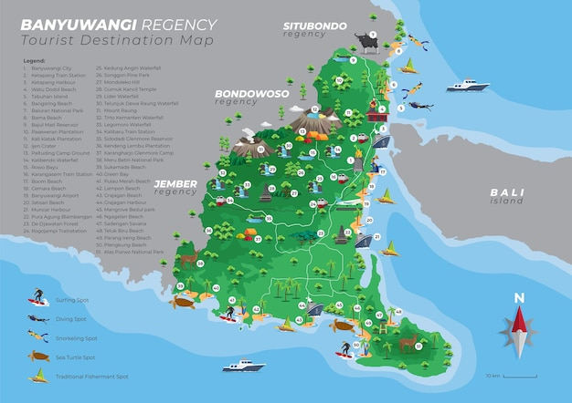 Carte De Destination Touristique De Banyuwangi Java Oriental Avec Détails Vecteur Premium