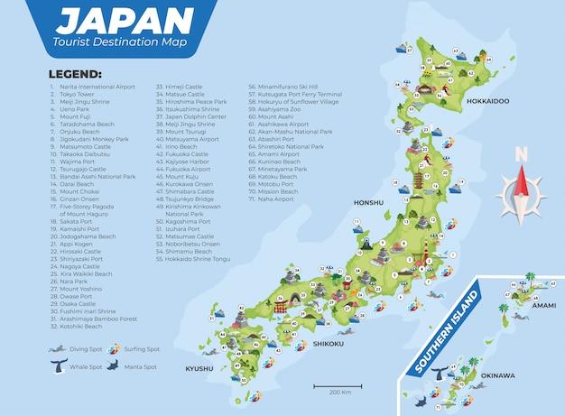 Carte de destination touristique du japon avec des détails