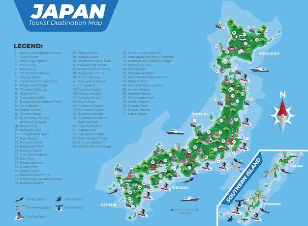 Carte des destinations touristiques du japon avec détails