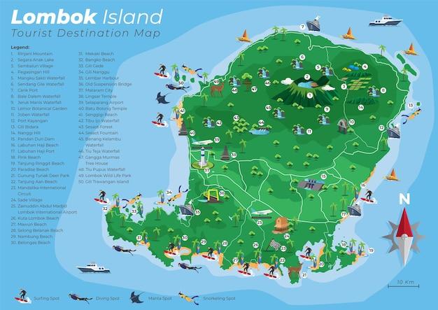 Carte Des Destinations Touristiques De L'île De Lombok Vecteur Premium
