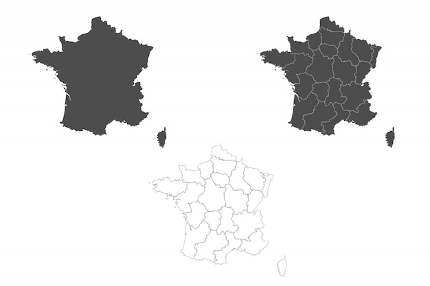 Carte détaillée de la france avec les frontières des régions.