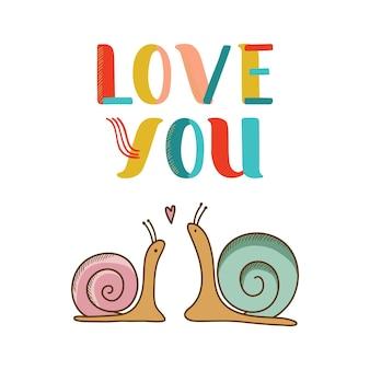 Carte avec deux escargots amoureux. illustration vectorielle