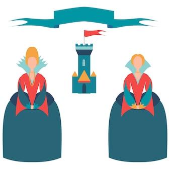 Carte avec deux princesses et un château,