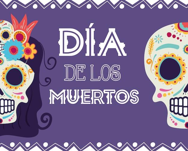 Carte dia de los muertos avec catrina et têtes de mort