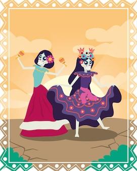 Carte dia de los muertos avec des catrinas jouant des personnages de maracas