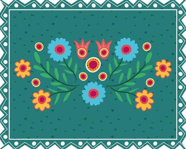 Carte dia de los muertos avec décor floral
