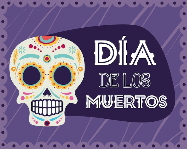 Carte dia de los muertos avec masque tête de mort