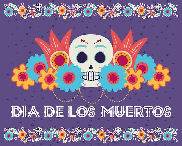Carte dia de los muertos avec tête de crâne et fleurs