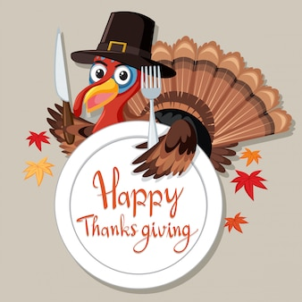 Carte de dinde happy thanksgiving