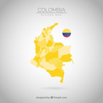 Carte divisée de la colombie