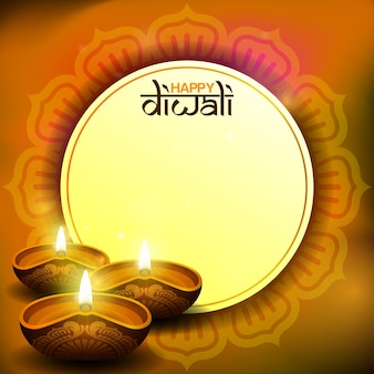 Carte diwali avec bougie diya